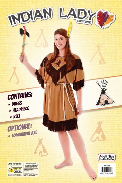 Ladies Indian Lady Costume Native Wild West American Cowboys Fancy Dress Outfit